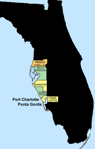 tampa bay fl county map