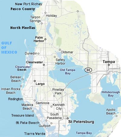 waterfront gulf front tampa bay florida  map pinellas county pasco